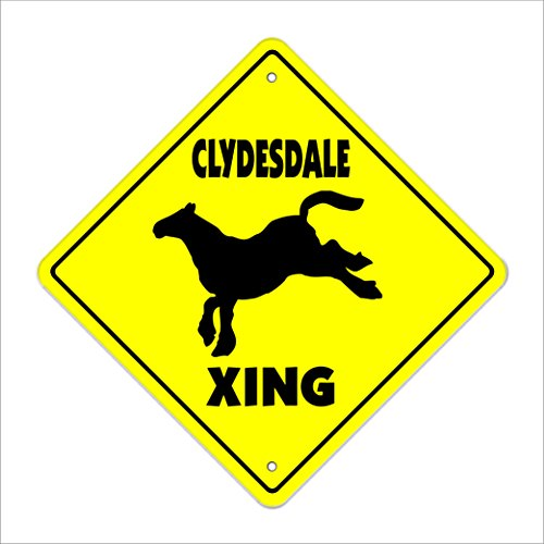 SignMission Clydesdale Crossing Sign Zone Xing |-| 30,5 cm Großer Pferd Bier Wagon Lover Inhaber Pony-Reiten -