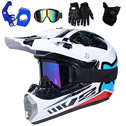 PKFG® Motocross Cross Helm mit Helmhaken Brille Maske Handschuhe, Off-Road Sport Motorrad Crosshelm Weiß Schwarz Sicherheit Motorradhelm Geeignet für Damen Herren Mountainbike Sport,XL(57~59CM)