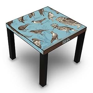 Table d'appoint noir avec motif oiseaux style vintage