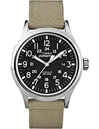Timex Men's T49962 Quartz Expedition Field Scout Tan Watch with Black Dial Analogue Display and Beige Nylon Strap