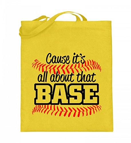 Hochwertiger Jutebeutel (mit langen Henkeln) - Baseball Tshirt Gelb