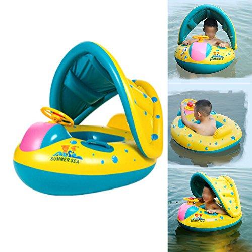 KroY PecoeD [2019 New Upgraded Baby-Schwimmwagen mit aufblasbarem Sonnenschutzdach Schwimmbad Spielzeug Neugeborenen Schwimmbad Spielzeug & Badering