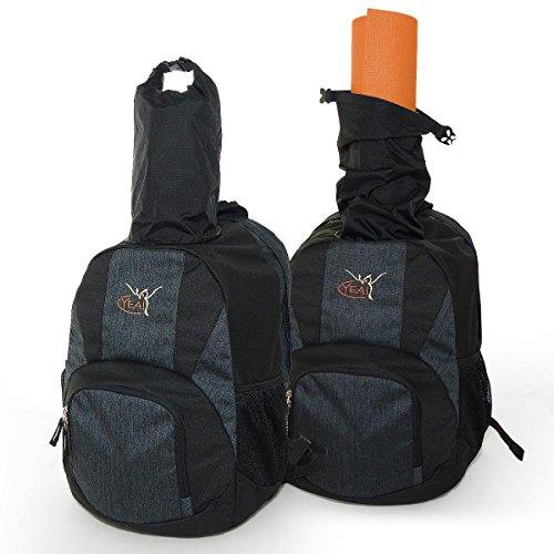 YEA!Sport Rucksack - Dein innovativer Begleiter für YOGA, PILATES und WORKOUT · Rückengerechtes DEUTER Airstripes System - WASSERABWEISEND - VIEL STAURAUM - NASSWÄSCHEFACH für schmutzige Kleidung (Schwarz)