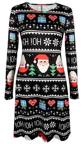 Bestfort Neue Womens Kurzes Kleid Weihnachts Bäume Weihnachten Weihnachtsmann Schneemann Rentier Rudolph Geschenk Glocken Geschenk Damen ()