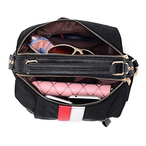 BYD de dames sac d'épaule de nylon Sacs à main Voyage Sac à Dos Sac à Randonnée Rouge et blanc rayé