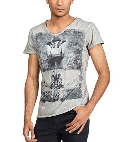 trueprodigy Herren T-Shirt V-Ausschnitt Dunkelgrau Kurzarm Slim Fit