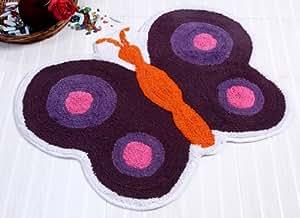 Homescapes Tapis de bain en forme de papillon de 55 x 80 cm en 100% coton anti dérapant