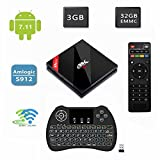 H96 Pro plus 3GB + 32GB,Timmery TV Caja Android 7.1 Reproductor Amlogic S912 64bit Octa-core 4K Smart TV BOX Bluetooth 4.1 Televisión Caja Dual Band WIFI 1000M LAN with Black H9 Mini Retroiluminación inalámbrica inalámbrico)