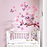 wall art R00076 Kitty Love Sticker Mural pour Enfant, Multicolore, 30 x 100 x 0,1 cm