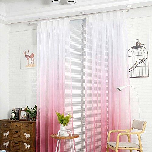 Nibesser Transparent Farbverlauf Gardine Vorhang Schlaufenschal Deko Für  Wohnzimmer Schlafzimmer 1 Stück (210cmx130cm, Weiß Und Rosa)