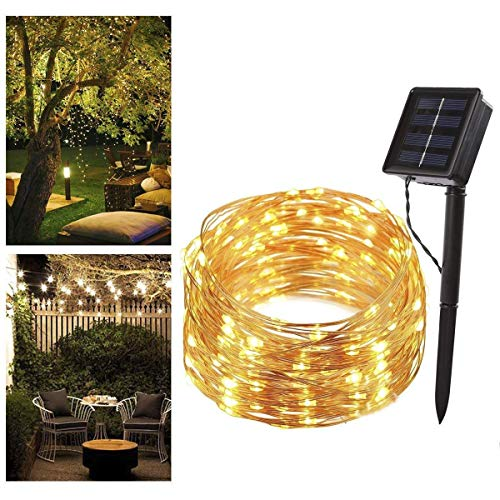 Lichterkette Solar außen B-right 200 LED Lichterkette Kupferdraht, Warmweiß, Wasserdicht LED...