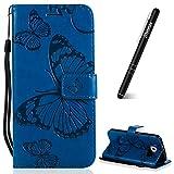 Slynmax Galaxy S6 Leder H�lle, 3D Gepr�gtes Schmetterlings Holster Flip Wallet Cover Case Leder Tasche f�r Samsung Galaxy S6 Flip Cover Handyh�lle Bookstyle mit Magnet Kartenf�cher Standfunktion,Blau Bild