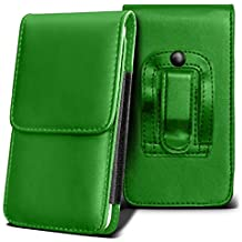 SHARP AQUOS CRYSTAL Holster Case - ( Green ) Universal Vertical Pouch Flip Belt Clip PU Leather Wallet Case Bag ( SHARP AQUOS Funda Crystal Case - ( verde ) Universal funda Vertical Flip Clip de cinturón de cuero pu Bolsa funda monedero  )