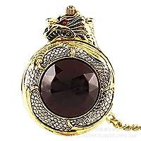 FEELHH Vintage Chain Pocket Watch,Creative Golden Dragon-Shaped Roman Digital Pocket Watch Flip Black Crystal Dragon Pattern Chain