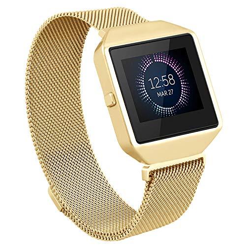 Hagibis Fitbit Blaze Band-Metallrahmen, Milanese-Schleife Edelstahlarmband-Bügel-Magnetverschlussband für Fitbit Blaze Smart Fitness