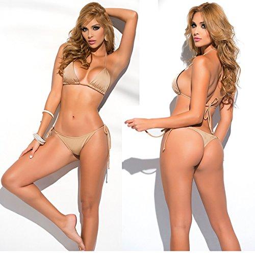 SHERRYLO 10 Solid Color Women's Thong Bikini Set String Bademode For S-XL Body (Gold)