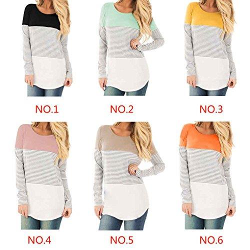 Minzhi Top da donna Casual a maniche lunghe in cotone Color Block a righe T-Shirt Tunica camicetta Pullover Bottoming Shirt Nero