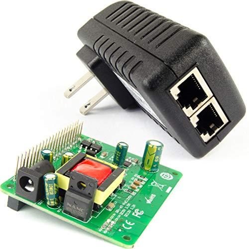 DSLRKIT Gigabit Raspberry Pi 3B+ 3B Plus 5V 12V Dual Output PoE Kit (24Watt 5V+12V PoE Hat + Gigabit PoE Injector)
