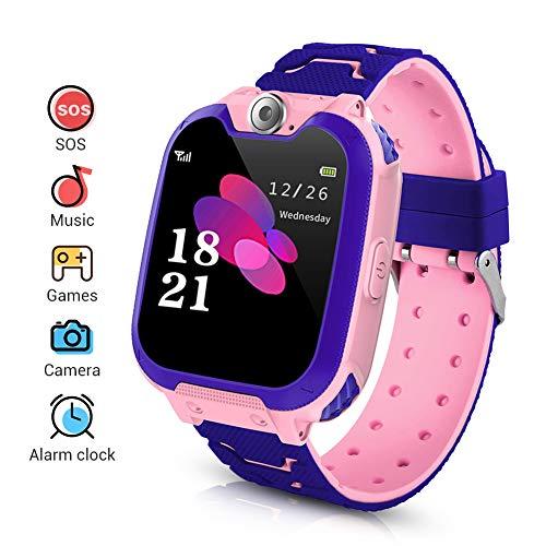 LYPULIGHT Niños Smartwatch Phone, Smart Watch Phone con Reproductor de música, SOS, Pantalla táctil LCD de 1,44 Pulgadas con cámara Digital, Juegos, Reloj Despertador para niños y niñas (Rosada)