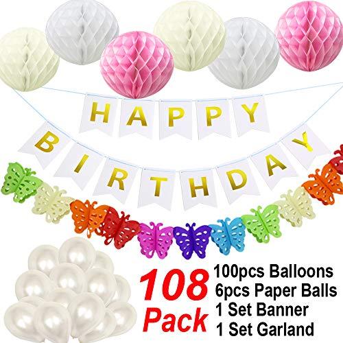 Happy Birthday Party Dekorationen begünstigt Girls Boys, Happy Birthday Banner Bunting + 6er Pack Honeycomb Balls + 1 Bunte Papiergirlande + 100 Ballons-Mix A-White
