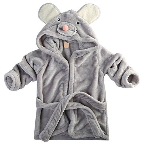 BOBORA Baby Bath Robe, Toddler Girl Boy Hooded Animal Dressing Gown Bath Robes Sleepwear
