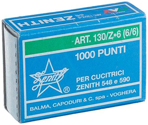 Zenith 130/Z-6 (6/6), Punti metallici, Acciaio zincato, Confezione di 10 scatole con 1000 punti (10000 punti totale), per Zenith 548 & 590
