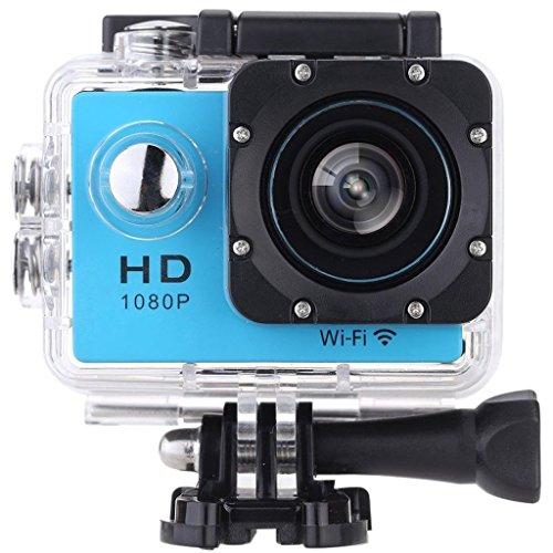 SODAO Action Kamera WIFI 2,0 Zoll Bildschirm, 12MP Full HD 1080P 30m/98 Fuß Wasserdichte Sports Kamera 170°Weitwinkel mit Zubehör Kits für Fahrrad Motorrad Tauchen Schwimmen usw (Blau)