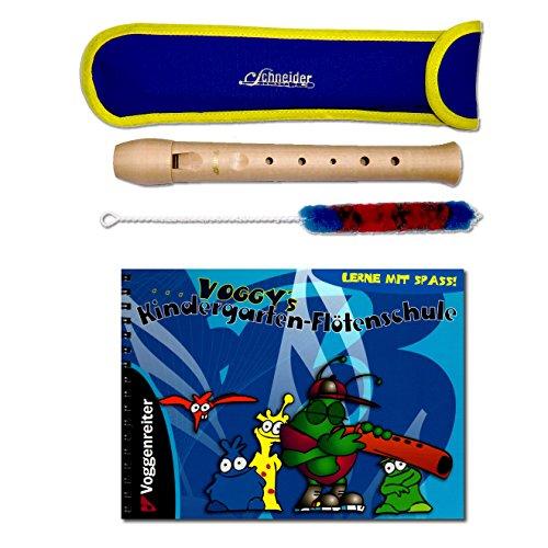 Kindergartenflöte Set: Blockflöte mit Tasche, Wischer und Voggy's Kindergarten-Flötenschule: Lernheft für Kinder ab 4 Jahre