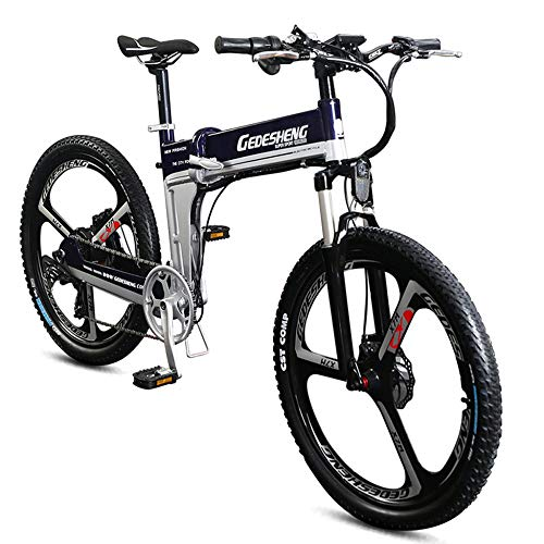 POTHUNTER Elektrisches Fett Fahrrad 26 '' * 4,0 '' Fetter Reifen 400 Watt 48 V 10 AH Lithium-Ionen-Batterie Im Inneren Faltbarer Fahrradrahmen,Blue-48V10AH