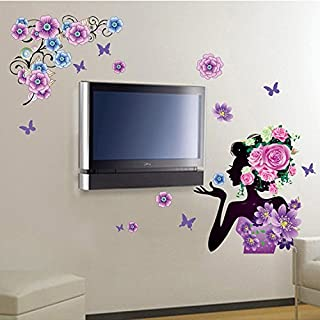 Alrens_DIY(TM) Colorful Flowers Rose Beauty Girl DIY Eco-friendly Wall Stickers Home Decoration Living Room Kids Nursery Room Bedroom Decor Décor adesivo de parede Self Adhesive Creative Art Mural Decorative Decal by Alrens
