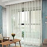 BATSDCB Rideau en Voile De Lin Semi-Transparent, Salon Tulle Fenêtre Traitement Voile Drapé Cantonnière avec Rideau De Crochet pour Balcon, 1 Panneau-Blanc 160x130cm(63x51inch)