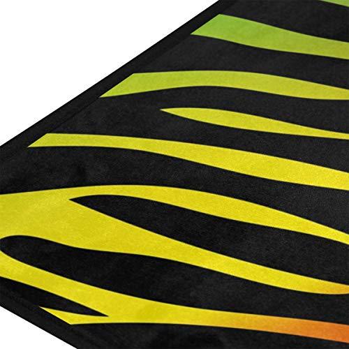XiangHeFu Teppiche Abstrakte Regenbogen Tier Zebra Haut Weiche 39x20 Zoll Fußmatten Teppich Personalisierte Matte für Küche Wohnzimmer Esszimmer Schlafzimmer Dekorative - Tier-haut-teppich