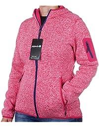 Pignolo Strickfleece Jacke Damen mit Fleecefutter für Outdoor mit Kapuze  atmungsaktiv-es Sweat   für… ad9a01ef12