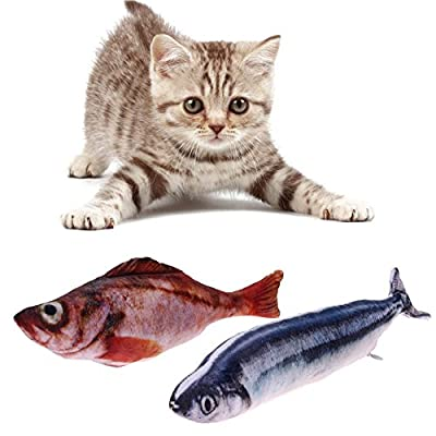 Pack of 2 Catnip Fish Toys, Realistic Simulation Catmint Fish Toy Soft Crinkle Cat Toy Cat Chew Toys Bite Supplies for Kitty Kitten