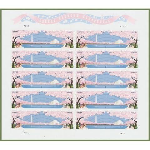 Washington Dc Cherry Blossom Centennial Sheet of Ten Forever Stamps Scott 4651-52 by (Francobolli Washington)