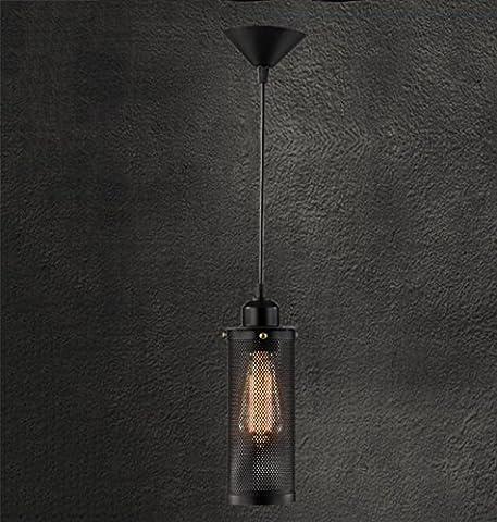 GFFORT style rétro industrielle simple tête balcon en fer forgé E27 Art Loft Restaurant Bar lustre créatif métal anti-déflagrant, 10cm * 24cm fil suspendu