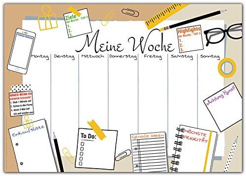 Schreibtischunterlage MEINE WOCHE zum Abreißen aus Papier - DIN A3 Schreibunterlage mit...