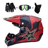 LETU Motocicleta Moto Cascos de Motocross y Guantes Y Gafas D.O.T estándar Niños Quad Bike ATV Go Karting Casco Zorro Rock Star Rojo,Redfox,S55~56CM