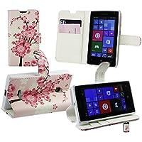 Emartbuy® Microsoft Lumia 532 / Lumia 532 Dual Sim Premium PU Lederetui Tischladestation Geldbörse Tasche Hülle Rosa Blossom mit KRotitkartenfächern