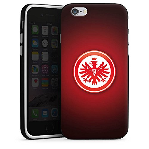 Apple iPhone 6s Tasche Hülle Flip Case Eintracht Frankfurt Fanartikel SGE Bundesliga Silikon Case schwarz / weiß