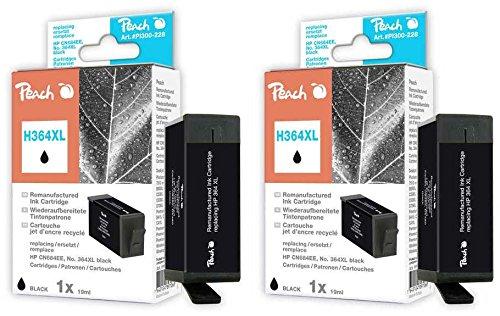 Preisvergleich Produktbild Peach Doppelpack Tintenpatronen schwarz kompatibel zu HP No. 364XL, CN684EE