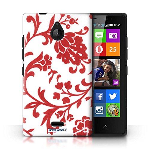 Kobalt® Imprimé Etui / Coque pour Nokia X2 Dual Sim / Fleurs Bleue conception / Série Motif floral Fleurs Rouge