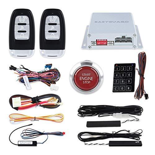 EasyGuard ec002-p4Smart Schlüssel PKE Auto Alarm mit Auto Start Engine Start Stop Knopf drücken Keyless Go Passwort Entry Lock Unlock Rot Push Button DC12V (Rot-keyless-entry-remote)
