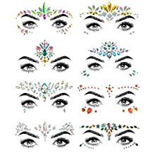 SHINEYES 8 PCS Mermaid Face Gems Glitter,Rhinestone Rave Festival Face Jewels,Crystals Face Stickers for Eyes Face Body Temporary Tattoos (Collection 03)