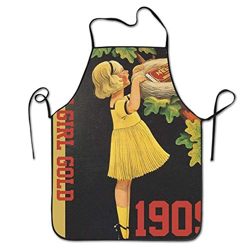fghjdfcnfd Hip Hop Apron Happy New Year Cute Girl Gold 1909 Canvas Professional Bib Apron for Women Men Adults Waterproof Natural - Girls Womens Natural