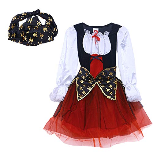 Amosfun Classic Pirate Dress-up Kostüm Halloween Party Maskerade Bühnenshow Cosplay Outfit für Kinder - Weihnachten Geburtstagsgeschenk für Kinder Größe M