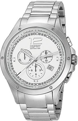 Esprit Collection Herren Chronograph Quarz Uhr mit Edelstahl Armband EL101421F07_Silver