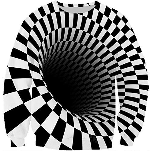 Hypnotisches 3D Druck-Schwarzweiss-T-Shirt/Hoodie/Sweatshirt der Schwindel-Unisexillusions-Kunst-Coole Straßen-Spitzen Black Asian Size M (Cherokee Herren T-shirt Schwarz)