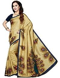 Ishin Art Silk Beige Printed Party Wear Wedding Wear Festive Wear New Collection Latest Design Trendy Women's...
