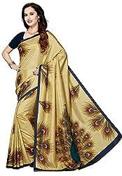 Ishin Art Silk Beige Printed Party Wear Wedding Wear Festive Wear New Collection Latest Design Trendy Womens Saree